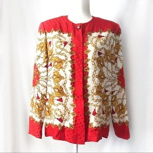 Vintage Adrianna Papell Baroque Red Gold Silk Top